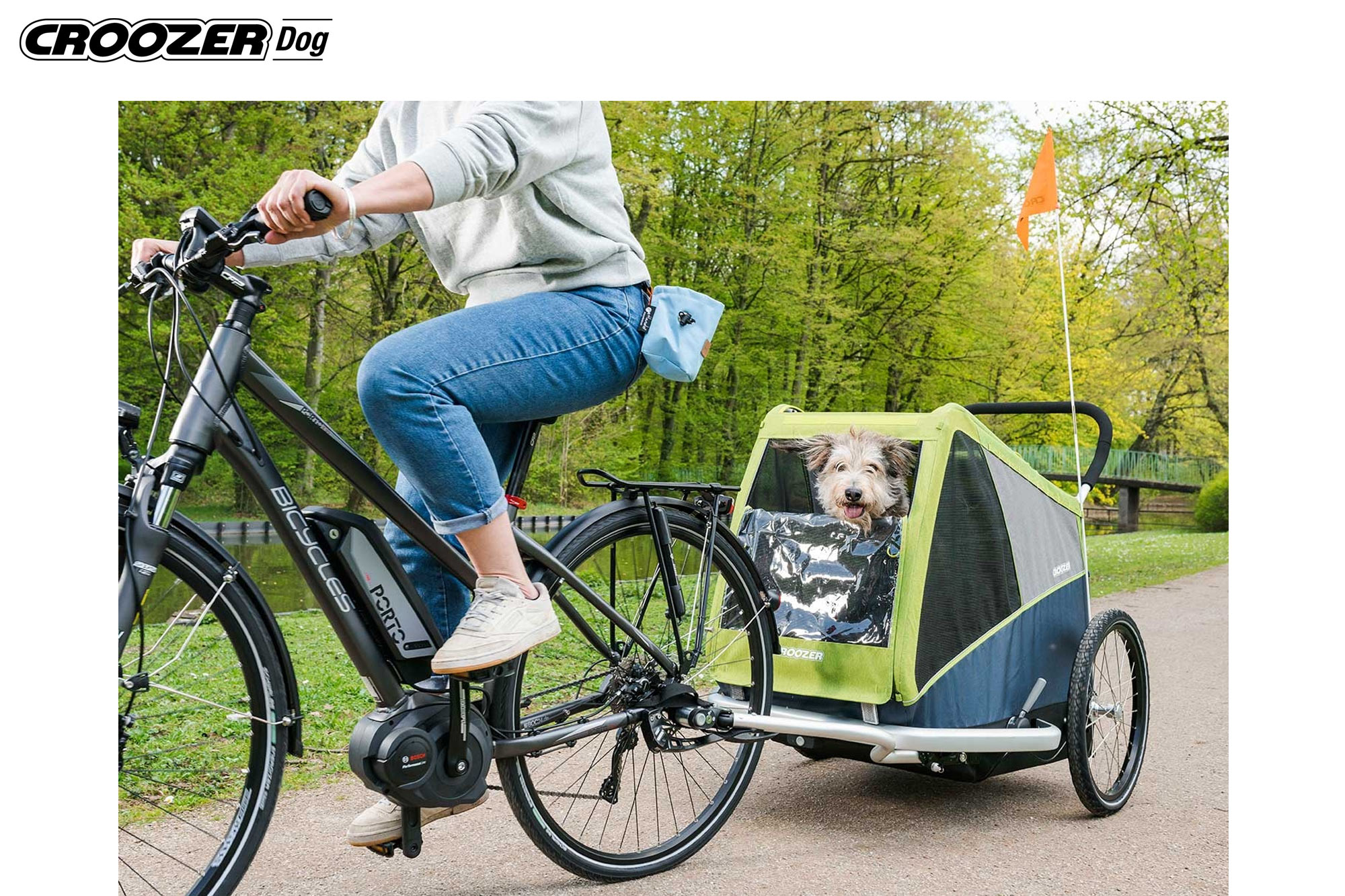 CROOZER Dog Jokke, Grasshopper green - Hundetransportanhänger