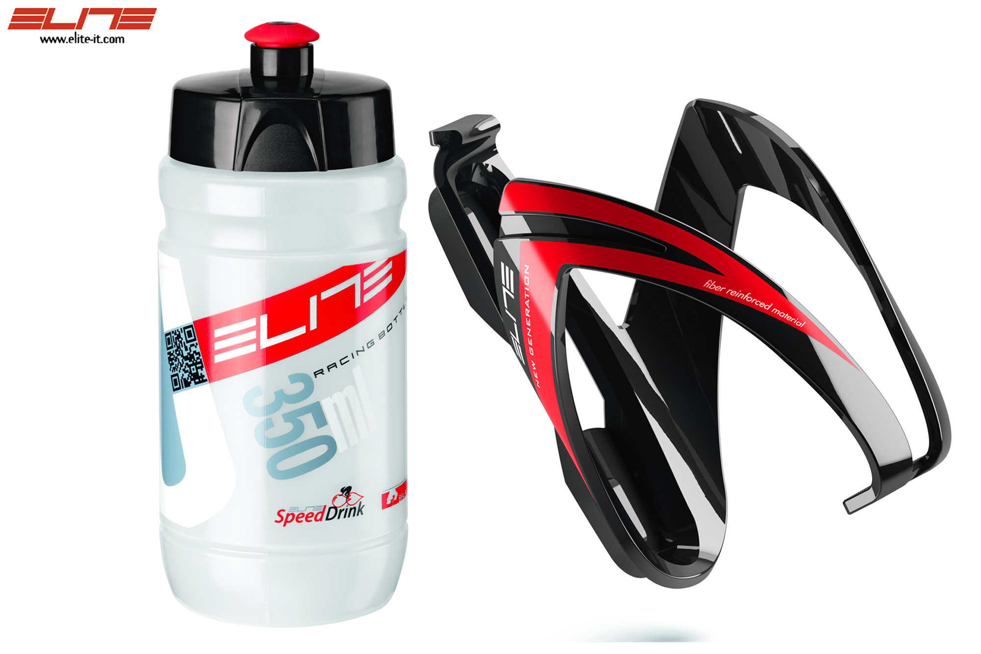 Elite Kit CEO - Trinkflasche + Halter-Set 350 ml-rot